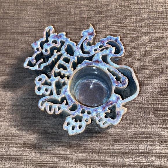 Vtg Bay Pottery Dragon Candlepot blue/purple glaze